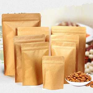 Evergreen Goods 10Pcs Kraft Zip Lock Stand up Bags (90x30x140mm) Pouches with Notch and Matte Window for Bath Salt,Dried Food or Tea - Sold by Evergreen Goods Ltd / Fulfilled by Amazon - £3.85 Prime / £8.34 non-Prime