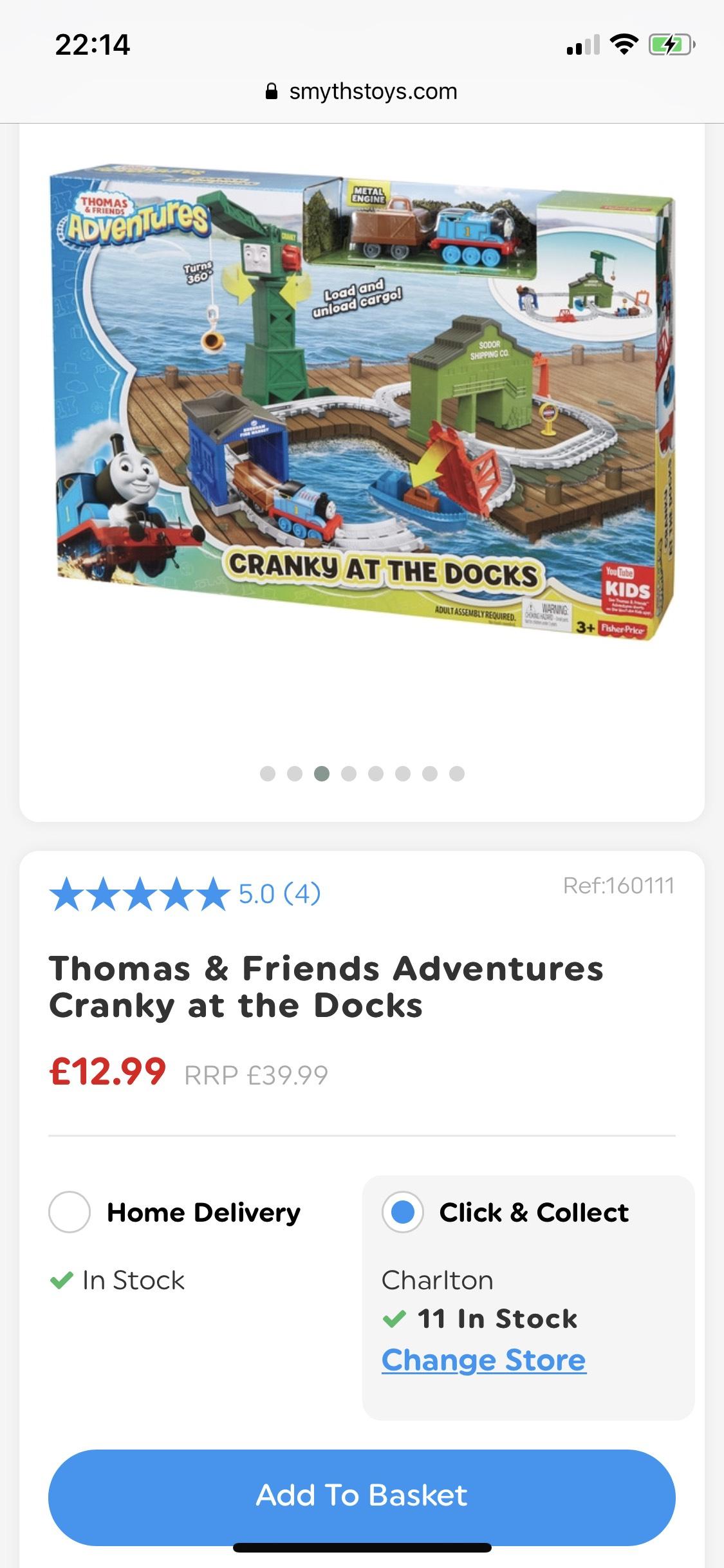 Thomas the tank engine cranky at the docks playset £12.99 @ smyths (free C&C)