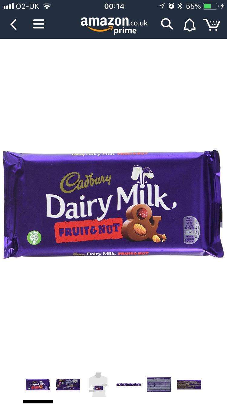 Cadbury Dairy Milk Fruit and Nut Chocolate 200g X 15 Bars £13.64 (Prime) / £18.13 (non Prime) at Amazon