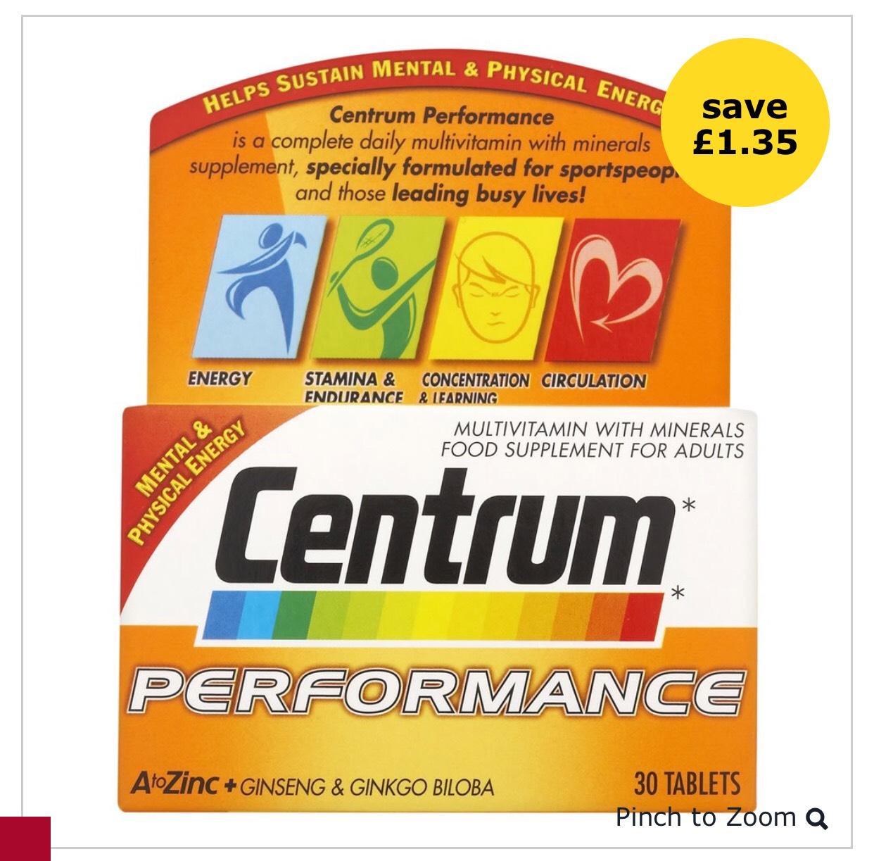 Centrum Performance Multivitamin Tablets 30pk £2.65 @ Wilko instore
