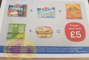 Co-op meal deal £5 -  2 Youngs fish fillets, 10 flipper dippers, McCain chips, peas and Carte D'or ice cream