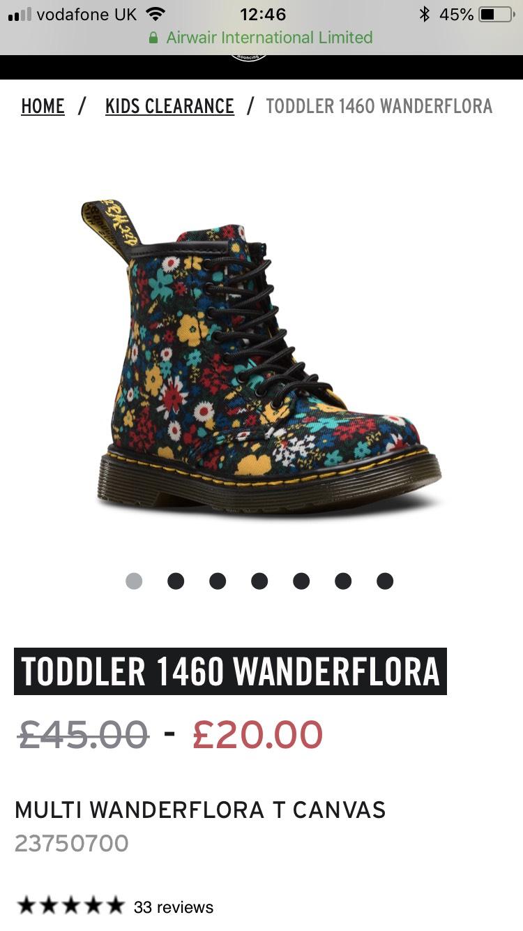 Dr Martens Flower Boots - Only Toddler 5.5 left - £20 + £3.95 delivery at drmartens.com