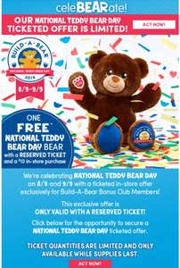 FREE National Teddy Bear Day BEAR with £10 purchase @ BuildABearWorkShop (reserved ticket required) [8 & 9 September 2018]