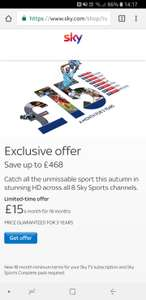 All 8 Sky Sports Channels in HD for £15 per month, price guaranteed for 3 years. New 18 month contract required. Existing customers only ***Selected non-sky sports subscribers via email / postal invite ***