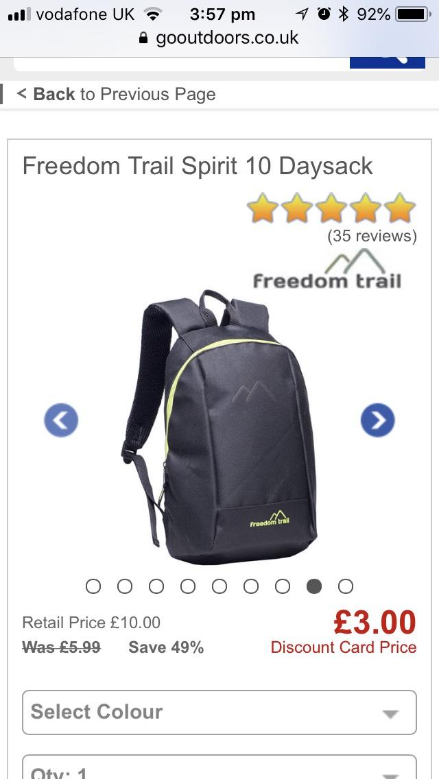Freedom Trail Spirit 10 Daysack £3 @ Go Outdoors - Free c&c