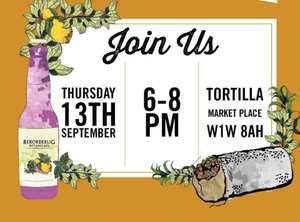 Free food and botanical Rekorderlig cider at Tortilla Oxford Circus London Garden Party 13 Sep 6-8