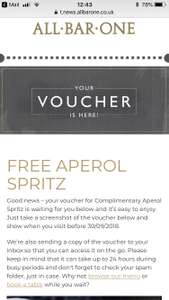 FREE aperol spritz at All Bar One