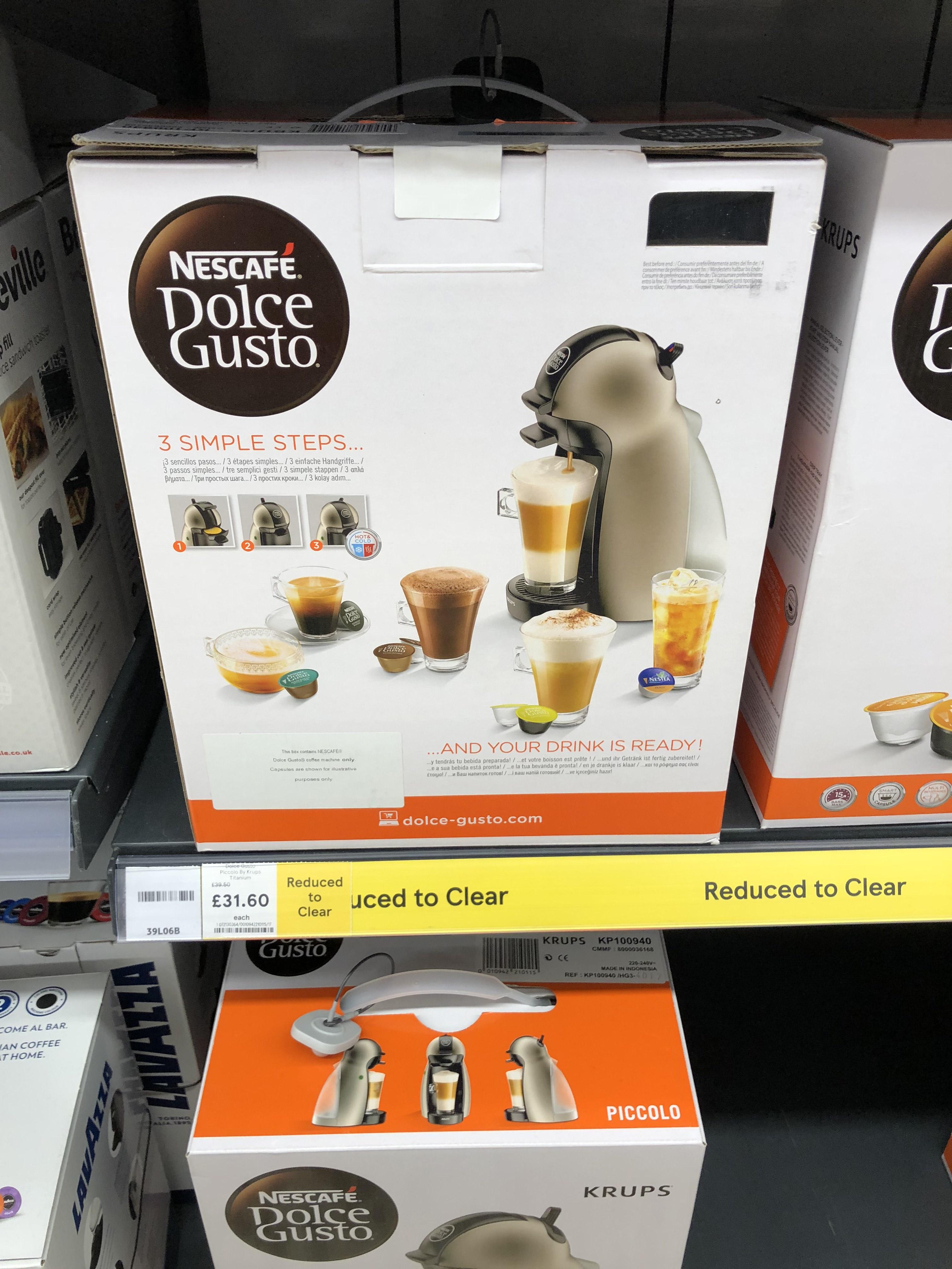 Krups Nescafé Dolce Gusto Piccolo Coffee Machine £31.60 instore @ Tesco