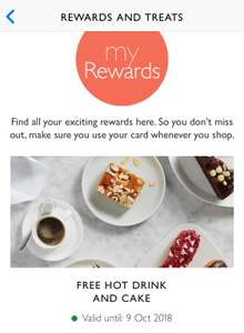 Free hot drink and cake on John Lewis  & Partners App