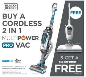 Black & decker vacuum cleaner + claim steam mop - £169.99 @ Argos