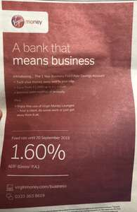 1.60% interest with Virgin Money Business Banking
