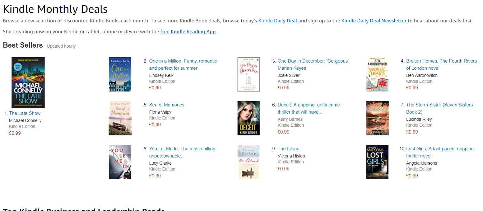Kindle monthly deals 99p - many different Tiltles & genre