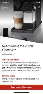 Nespresso machine from £1 for Virgin red app members