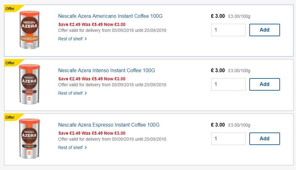 Nescafe Azera Americano,Intenso, Espresso Instant Coffee 100G - £3 at Tesco