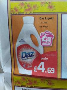 Daz liquid £4.69 for 49 washes at Savers