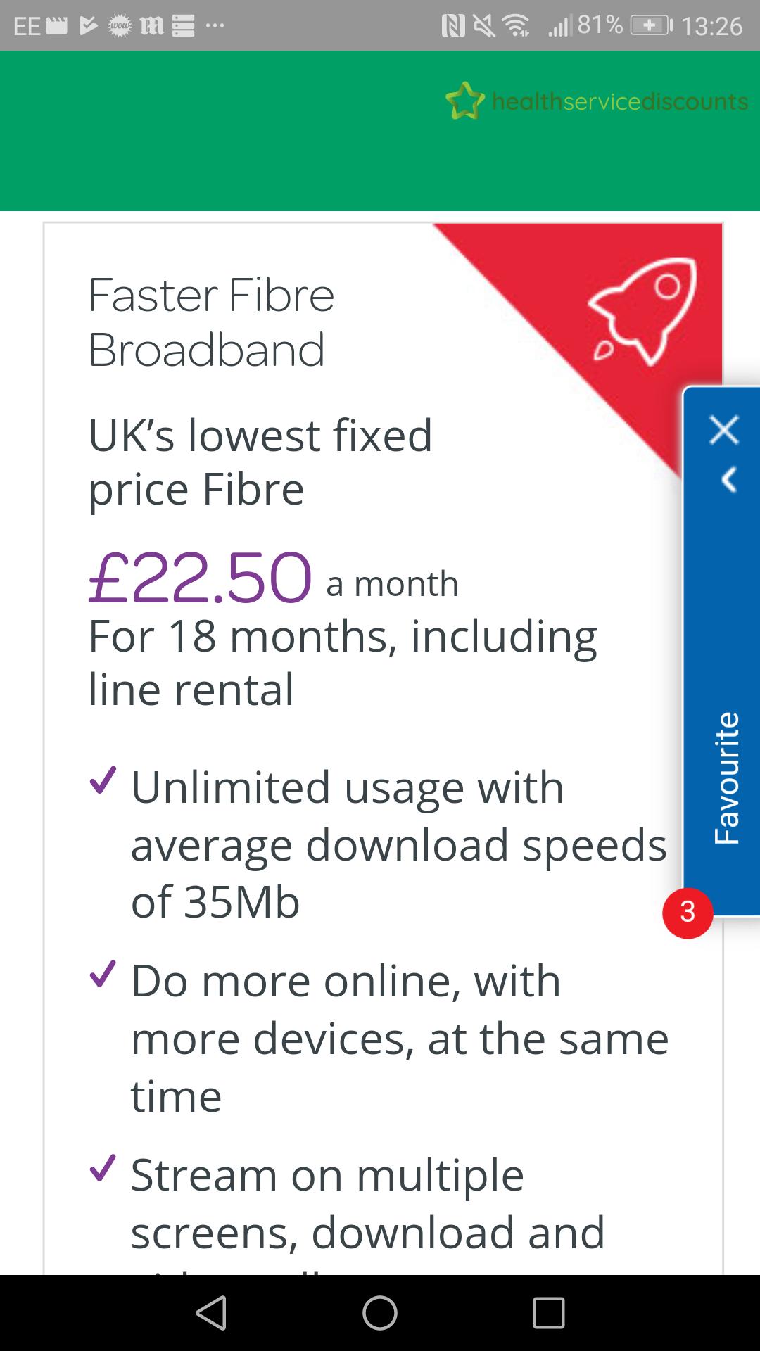 Unlimited fibre broadband £22.50 per month @ TalkTalk