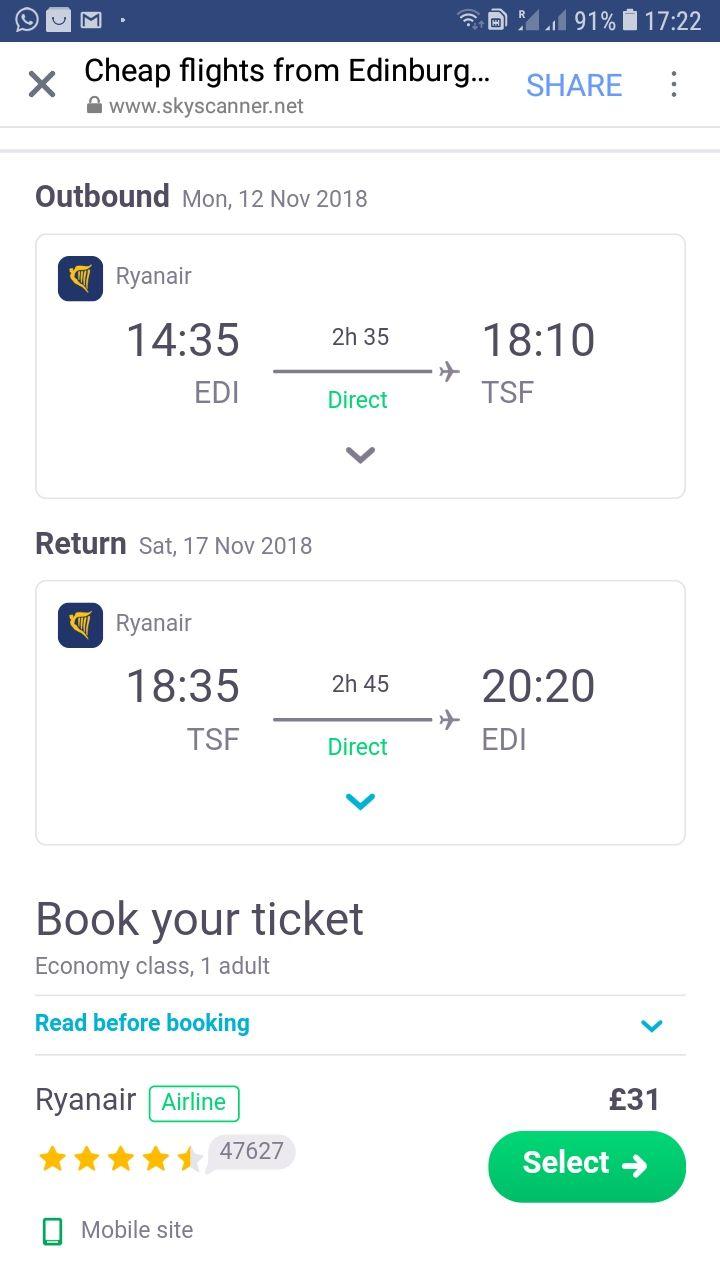 Edinburgh to Venice Italy Return on Ryanair - £31