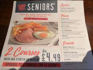 Seniors ( 60+) 3 course meal @ flaming grill pubs ( Mon - Fri) - £5.49