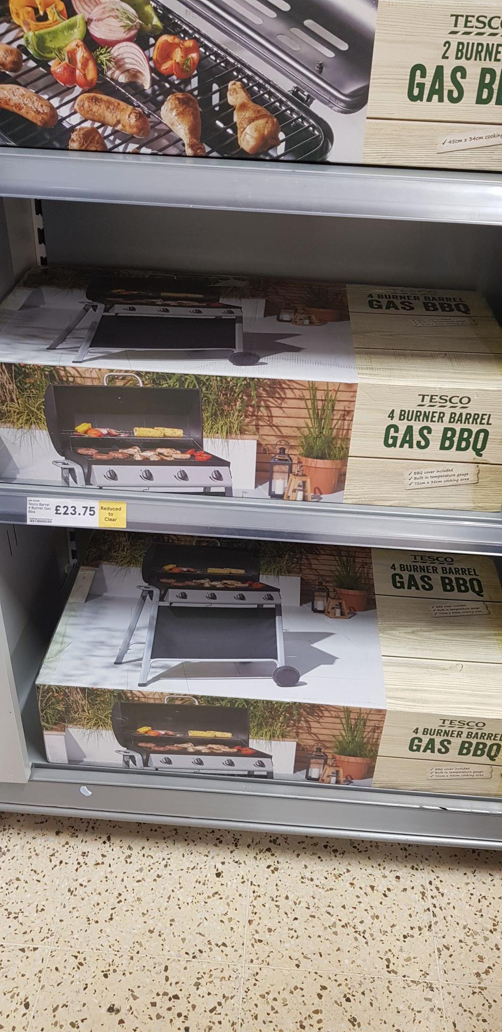 4 burner barrel Gas bbq £23.75 instore Tesco Narborough Road Leicester