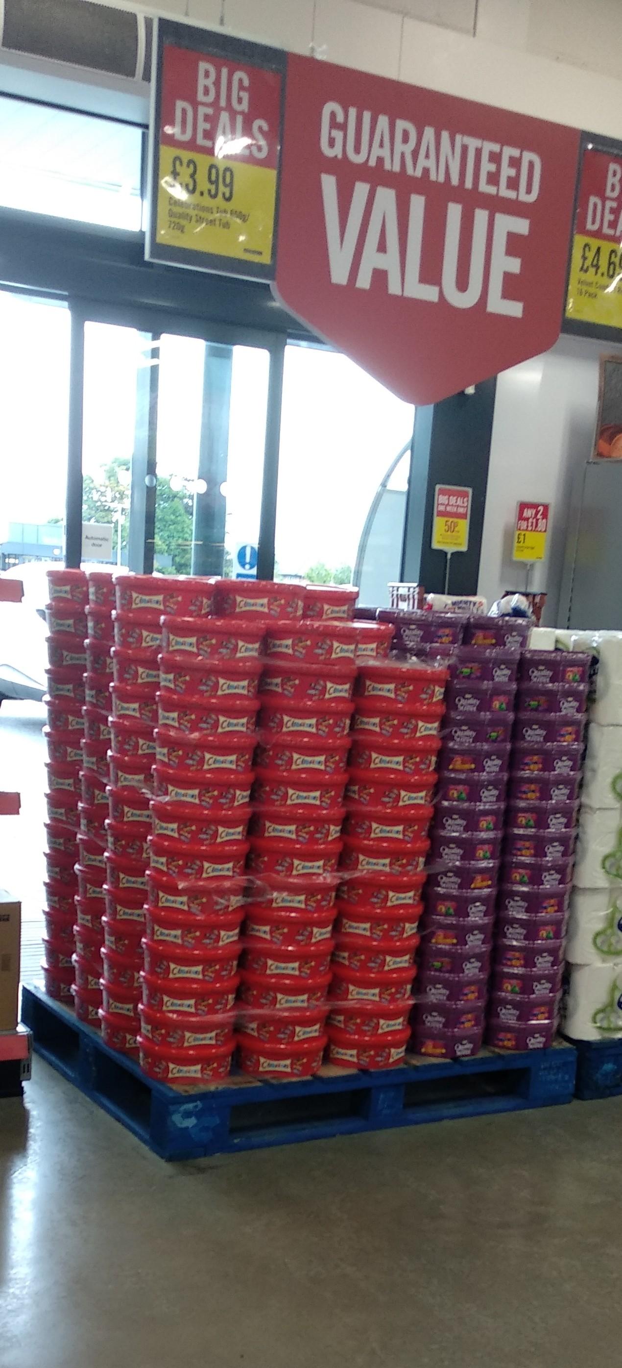 Celebrations tub 650g/ Quality Street tub 750g £3.99 each @ Iceland Food Warehouse