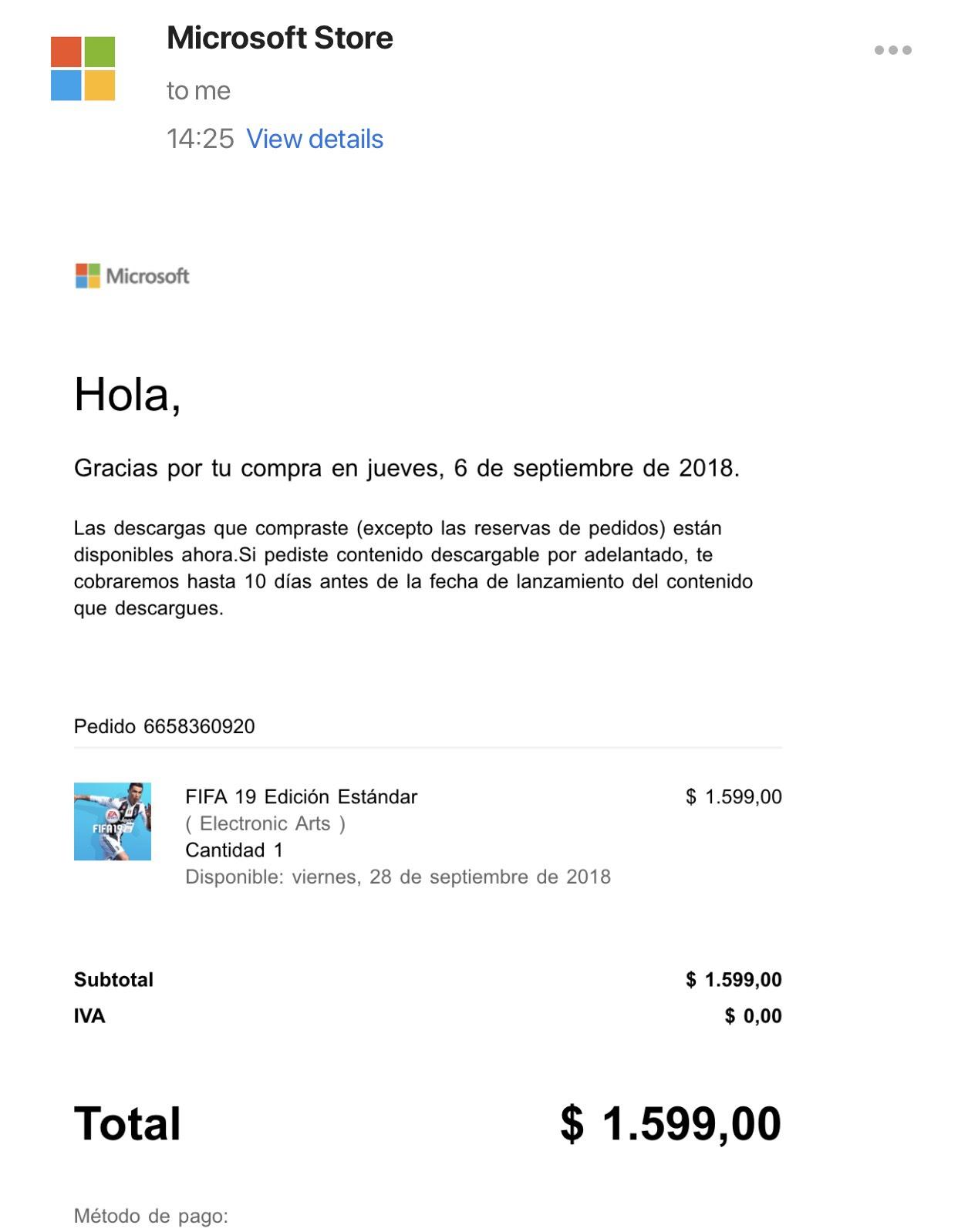 Fifa 19 standard edition £35 Digital Argentina store @ Microsoft