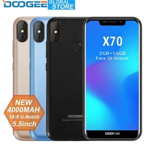 DOOGEE X70 Smartphone Face Unlock 5.5'' U-Notch 19:9 MTK6580 Quad Core 2GB RAM 16GB ROM Dual Camera 8.0MP Android 8.1 4000mAh £62.82 @ Ali express