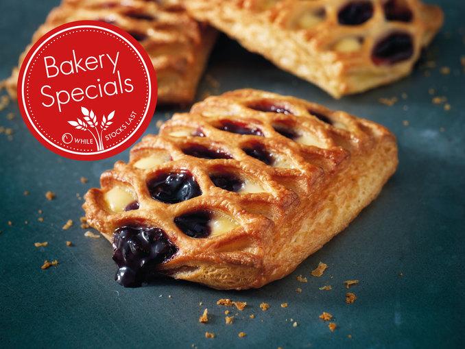 Lidl Bakery Specials Cherry & Custard Lattice 49p Mini Danish Pastries Assorted 22p or 3 for 60p Salted Caramel & Hazelnut Lattice 49p & Ancient Grain Roll 29p in store @ Lidl