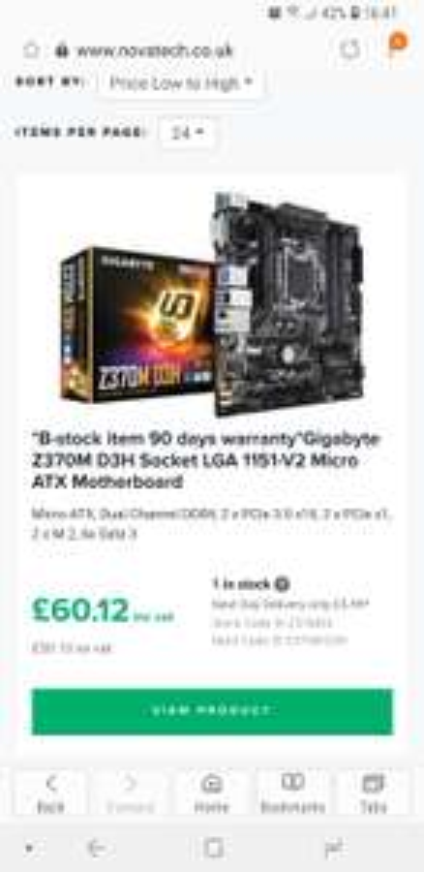 Gigabyte Z370 D3H Micro ATX Socket 1151 Motherboard *Refurbished with 90 day warranty* £60.12 @ Novatech