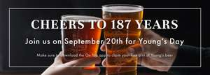 Free pint Youngs beer on September 20th - download youngs app