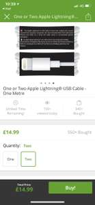 Genuine Apple lightning cable £7.99 (1) £14.99 (2) plus £1.99 postage @ Groupon