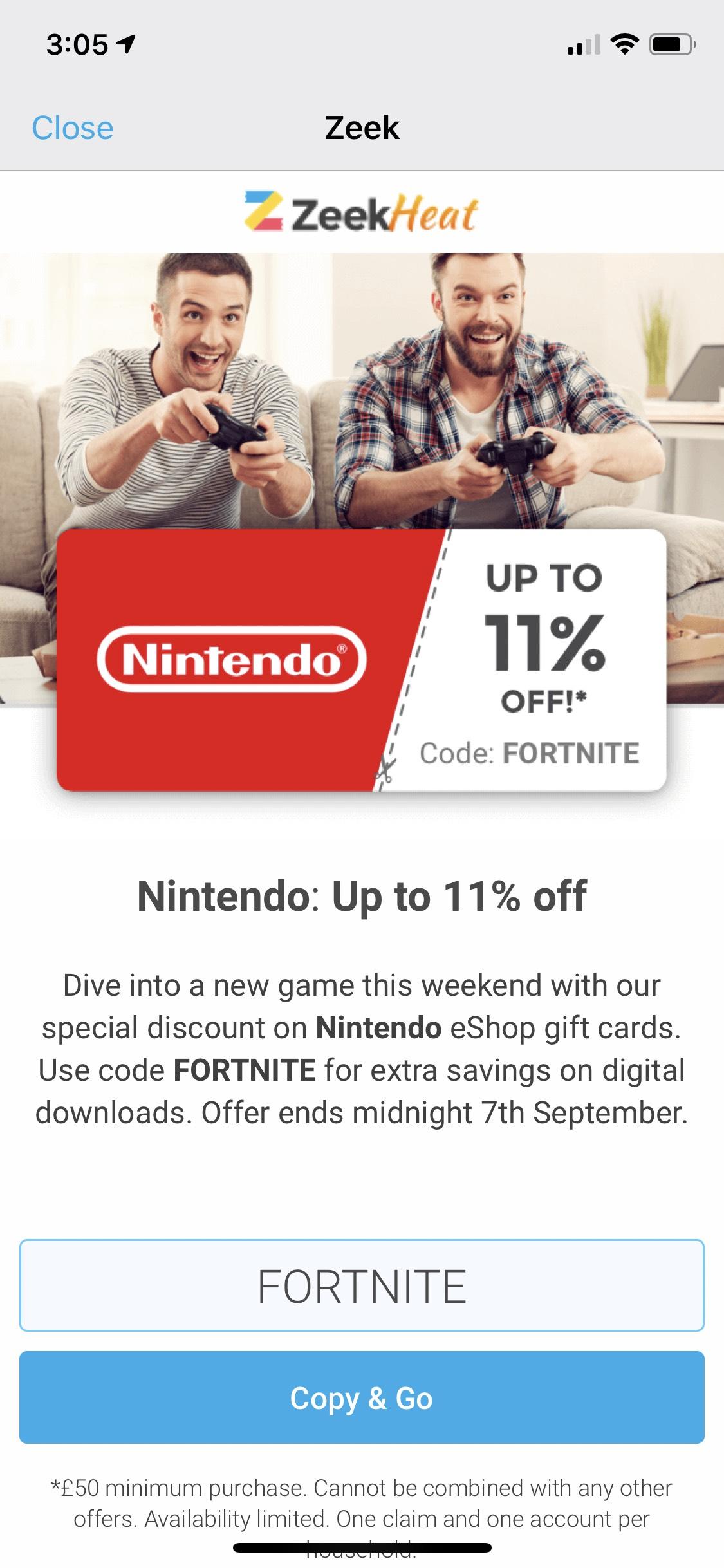 11% off Nintendo eshop purchases - £50 voucher for £44.50 @ Zeek
