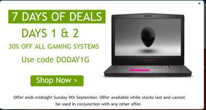 Dell - 30% OFF All Gaming Laptops with code @ Dell Outlet