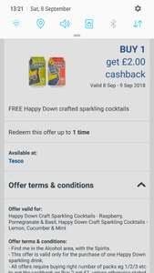 Free Happy Down cocktail from Tesco after cashback via ClickSnap