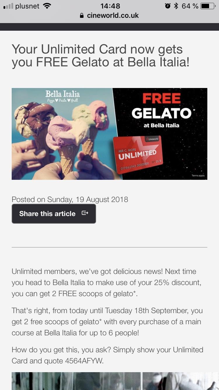 Free Gelato at Bella Italia for Cineworld Unlimited users