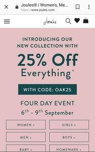 JOULES 25% off everything.