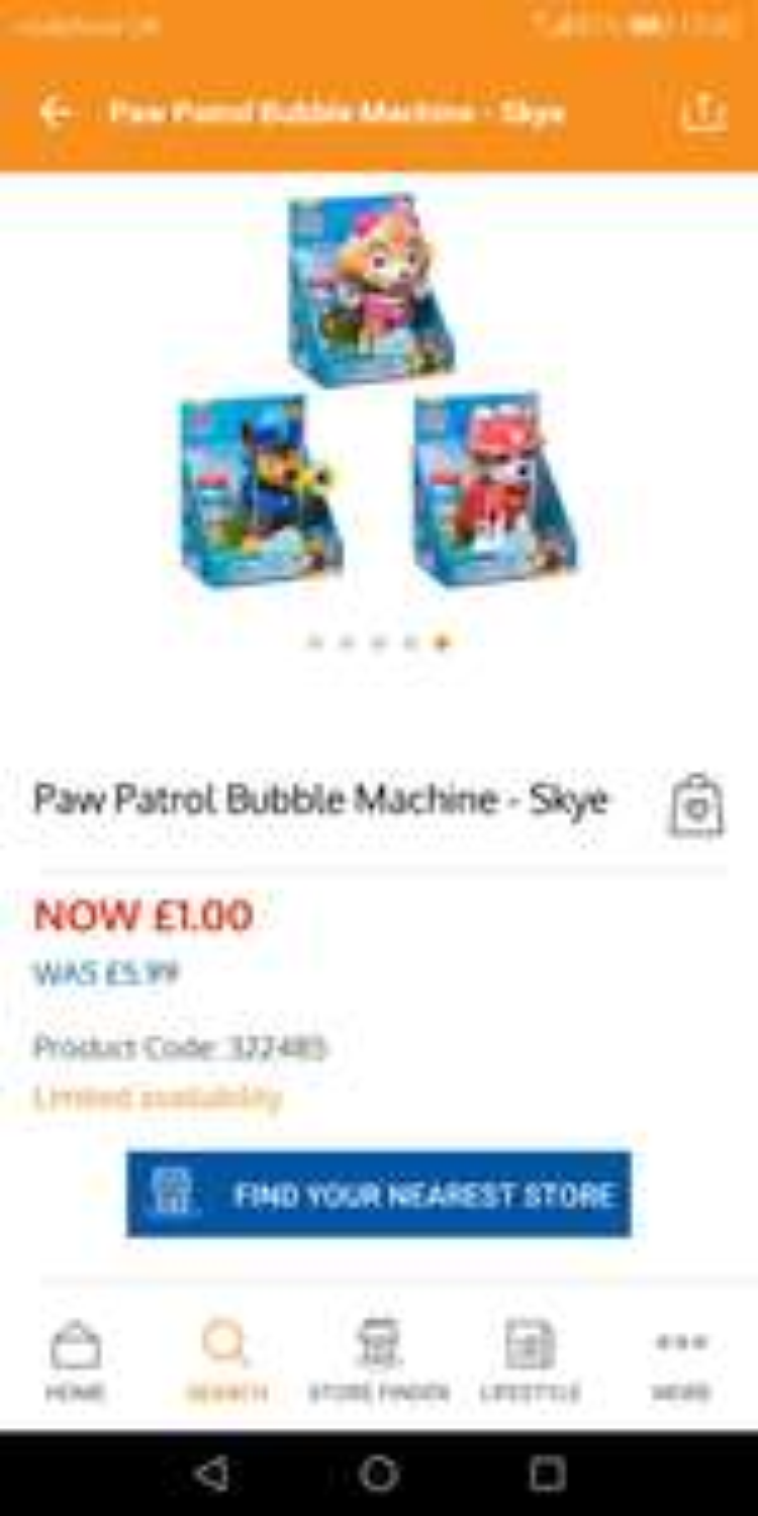 Paw patrol bubble machine skye @ b&m