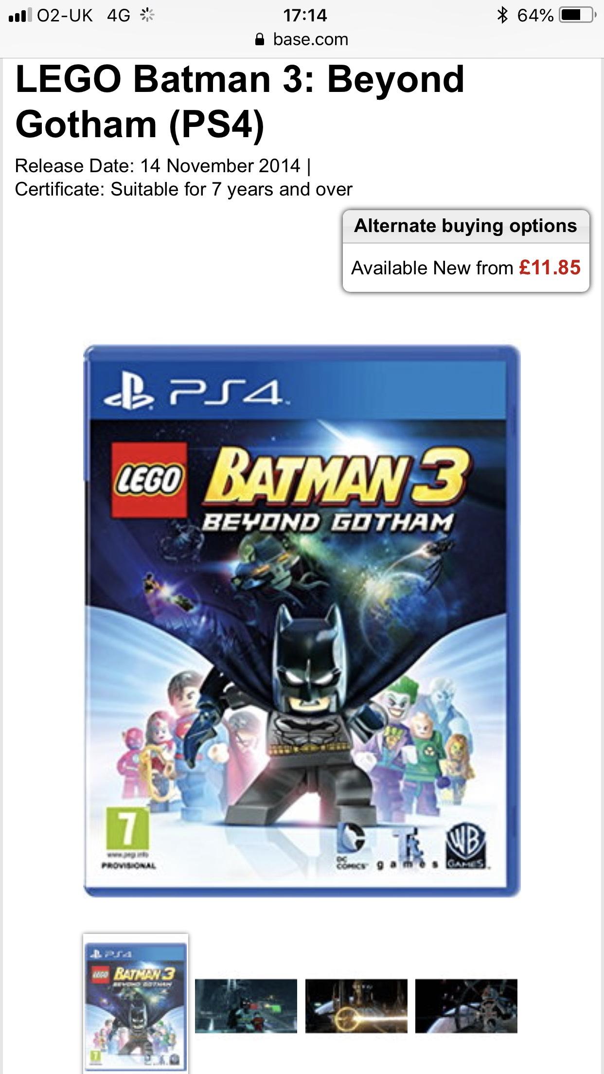 PS4 - Lego Batman 3 Beyond Gotham (£11.85 Delivered!) @ Base