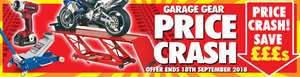 """MachineMart """"Garage Gear Price Crash""""  Offer available until 18th September 2018 inclusive"""
