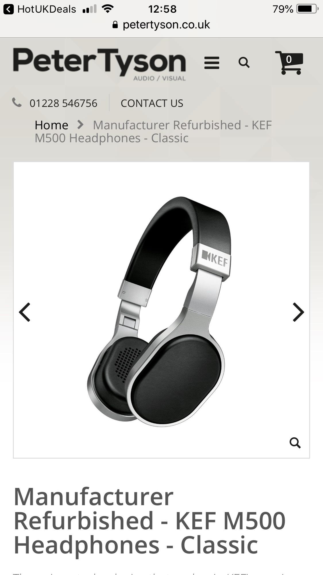 Manufacturer Refurbished - KEF M500 Headphones - Classic 2 year warranty £49 @ Peter Tyson