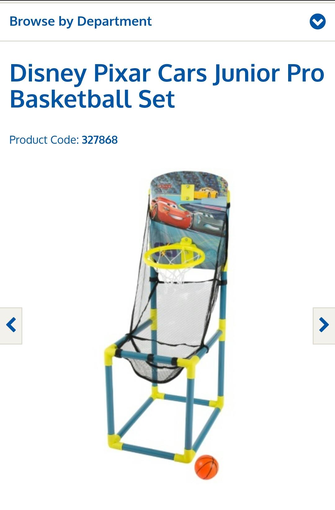 Disney Pixar Cars Junior Pro Basketball Set - £6.99 @ B&M
