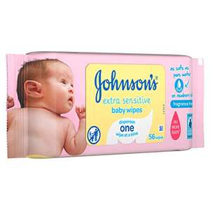 Johnson's Baby Extra Sensitive Fragrance Free Wipes - Pack of 18, Total 1008 Wipes S&S £9.48 Including 50p Voucher @ Amazon