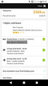 From London: Not school hols 19-26 September 1Wk Half Board £126pp (£504) for family of 4 to Ibiza @ Thomas Cook