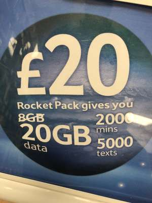 Pay as you go Tesco Rocket Pack Sim 2000mins, 5000 text and 20GB data for a month - £20