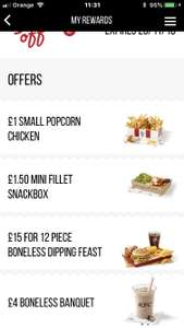 Latest KFC Colonels club offers - £1 small Popcorn Chicken, £1.50 mini fillet snack box, £15 12 piece boneless dipping feast & £4 boneless banquet