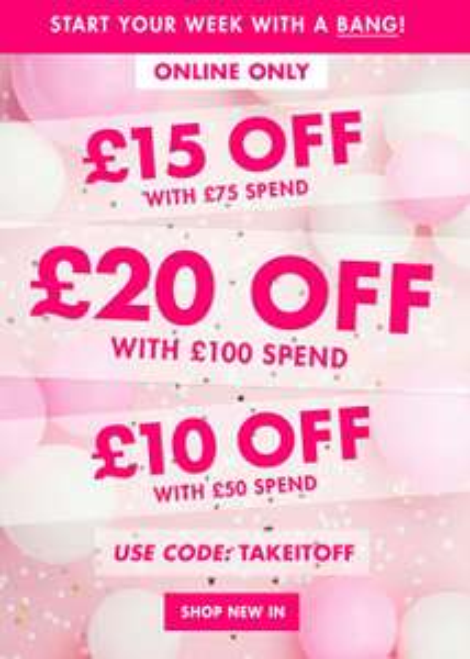 Boux Avenue Money off - £10 off £50 spend, £15 off £75 spend, £20 off £100 spend