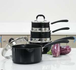 ProCook Gourmet Non-Stick Saucepan Set 4 Piece with Free Utensils with free delivery £79