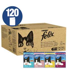 120 Mixed Pouches of Felix Cat Food - £15.82 delivered (for prime members)