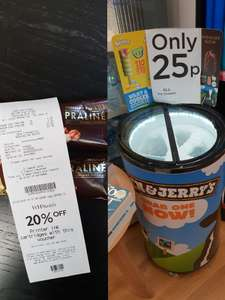 25p for Magnum Chocolate & Hazelnut Praline , Ben & Jerry's Mini Tubs and more. 100ml @ WHSmith