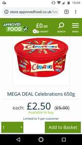 Celebrations tub 650g £2.50 + £5.99 delivery at approved foods