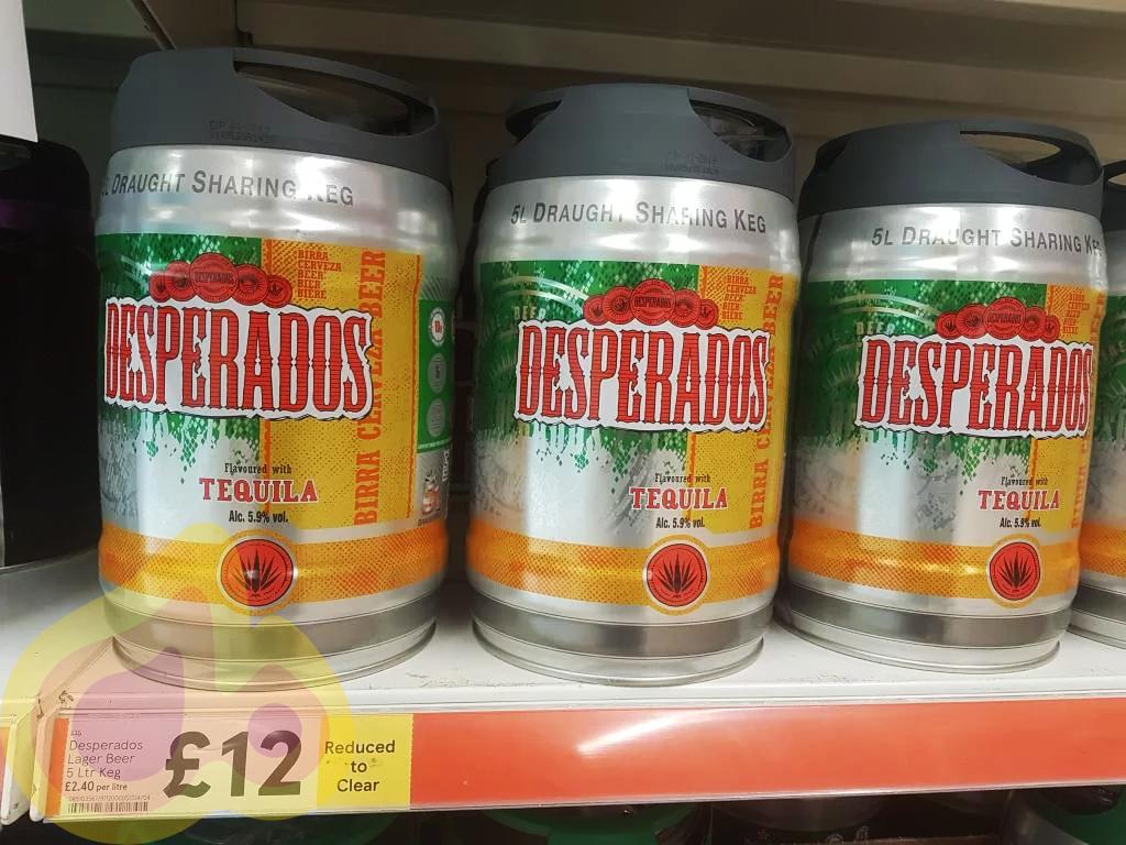 Desperados Lager Beer 5 Litre Keg £12  instore at Tesco Kennington SE11